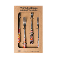 Warlukurlangu Aboriginal Art Dessert Fork (Set 4) - Fire Dreaming