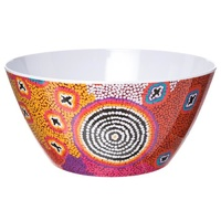 Warlukurlangu Aboriginal Art Melamine Salad Bowl - Green Budgerigar Dreaming