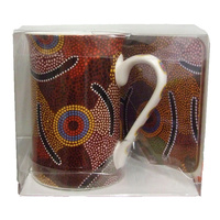 Bulurru Aboriginal Art Mug & Coaster Set - Man's Ceremony