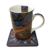 Jijaka Aboriginal Boxed Bone China Mug with Coaster - Blue Roo