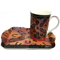 Yijan Aboriginal Art Bone China Mug and Tray Set - Crow Women Dreaming