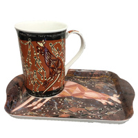Yijan Aboriginal Art Bone China Mug and Tray Set - Wallaroo Hunting