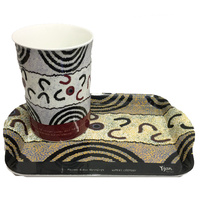 Yijan Aboriginal Art Bone China Mug and Tray Set - Women's Ceremony