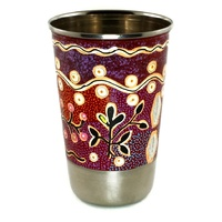 Aboriginal Art Stainless Steel Tumbler - Yam & Bush Tomato Dreaming