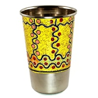 Aboriginal Art Stainless Steel Tumbler - Marsupial Mouse Dreaming