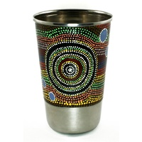 Better World Aboriginal Art Stainless Steel Tumbler - Rainbow at the Rockhole