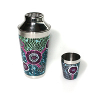 Stainless Steel Aboriginal Art Cocktail Shaker - Emu Dreaming