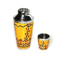 Stainless Steel Aboriginal Art Cocktail Shaker - Marsupial Mouse Dreaming