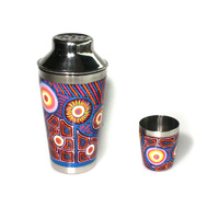 Stainless Steel Aboriginal Art Cocktail Shaker - Puyurru