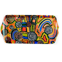Jijaka Aboriginal Art Long Melamine Scatter Tray - Billabong Camp