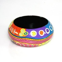 Aboriginal Art Lacquered Bangle (4cm) - Mina Mina Jukurrpa
