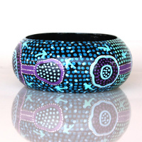 Aboriginal Art Lacquered Bangle (4cm) - Emu Dreaming