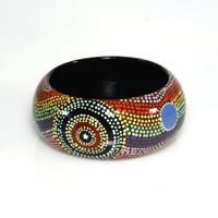 Aboriginal Art Lacquered Bangle (4cm) - Family at the Rockhole