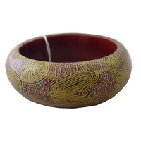 Yijan Aboriginal Art Resin Bangle - Women's Travel Dreaming (Gold)