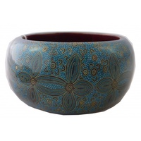 Yijan Aboriginal Art Resin Bangle (4cm Wide) - Women's Ceremony at Yuelamu (Turquoise)