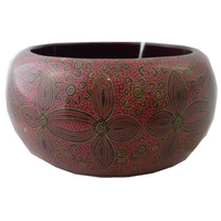 Yijan Aboriginal Art Resin Bangle (4cm Wide) - Women's Ceremony at Yuelamu (Red)