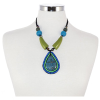 Yijan Aboriginal Art Beaded Pendant Necklace - Women's Ceremony on Yuelamu (Turquoise)