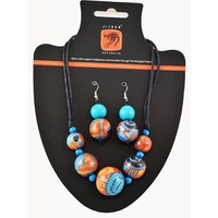 Jijaka Beaded Necklace/Earrings Set (5 bead) - Firestones