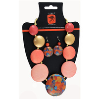 Jijaka Beaded Necklace/Earrings Set (flat) - Firestones