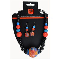 Jijaka Beaded Necklace/Earrings Set (round) - Firestones
