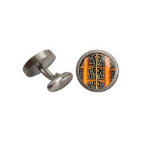 Allegria Stainless Steel Giftboxed Aboriginal Art Cufflinks - Caterpillar