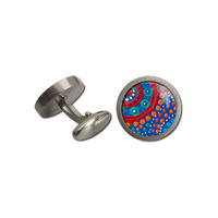 Allegria Stainless Steel Giftboxed Aboriginal Art Cufflinks - Family Picking Wildflowers