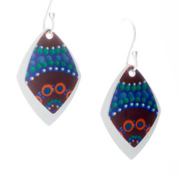 Handmade 2pce Aboriginal Art Aluminium Earrings - Camping Around Waterholes
