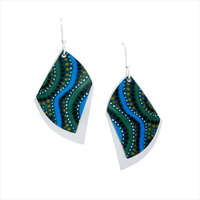 Handmade 2pce Aluminium Aboriginal Art Earrings - Desert Winds