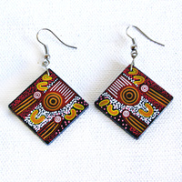 Handmade Aboriginal Art Ceramic Earrings - Amata Creation Story