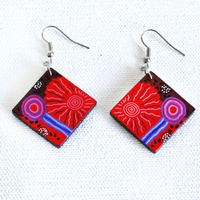 Handmade Aboriginal Art Ceramic Earrings - Travelling Through Country