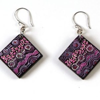 Aboriginal Art Handmade Aboriginal Art Ceramic Earrings - Walka