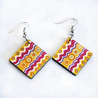 Handmade Aboriginal Art Ceramic Earrings - Rainbow Serpent Dreaming