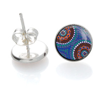 Camping Around Waterholes - Handmade Aboriginal Art Earrings [Stud]