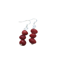 Native Seed Earrings - Red Bean