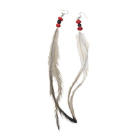 Native Seed Earrings - Black and Red Beans with Emu Feather