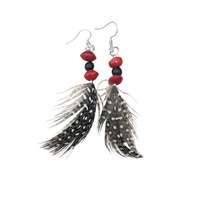Native Seed Earrings - Red/Black Beans with Spotted Feather