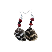 Native Seed Earrings - Red/Black Beans with Striped Feather