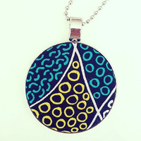 Aboriginal design Fabric Pendant - Bush Coconut Dreaming (Red)