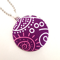 Aboriginal design Fabric Pendant - Bush Tucker (Purple)