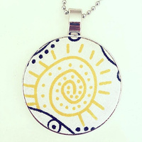 Aboriginal design Fabric Pendant - Bush Tucker (White)