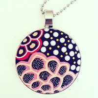 Aboriginal design Fabric Pendant - Dancing Flowers (Black)