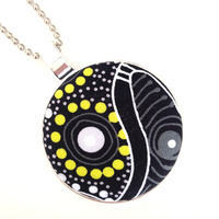Aboriginal design Fabric Pendant - Dancing Spirit (Charcoal)