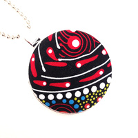 Aboriginal design Fabric Pendant - Dancing Spirit (Red)