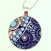 Aboriginal design Fabric Pendant - Fresh Life After Rain (Black)