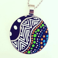 Aboriginal design Fabric Pendant - Possum Land Water Dreaming (Blue)