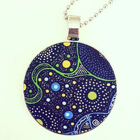 Aboriginal design Fabric Pendant - Spiritual Women (Green)