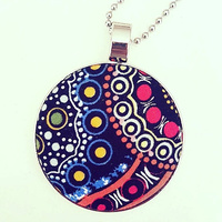 Aboriginal design Fabric Pendant - Wild Bush Flowers Black