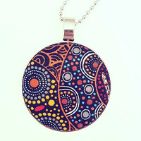Aboriginal design Fabric Pendant - Women Collecting Water (Orange)