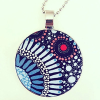 Aboriginal design Fabric Pendant - Wild Flora (Blue)