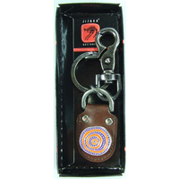 Jijaka Aboriginal Art Vintage Boxed Leather Keyring - Firestones  (1 clip)
